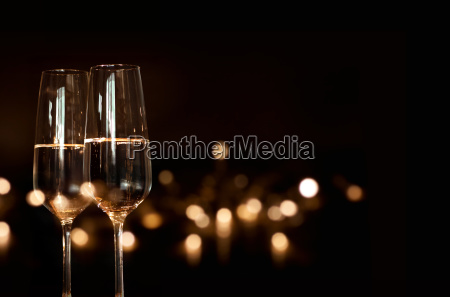 bokeh background with sparkling wine