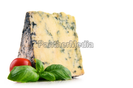piece of blue cheese isolated on