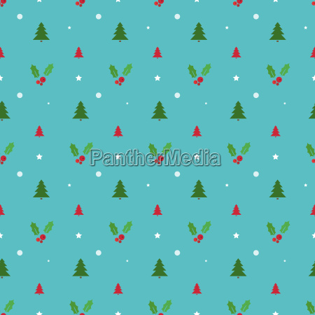 christmas seamless pattern with trees snowflakes