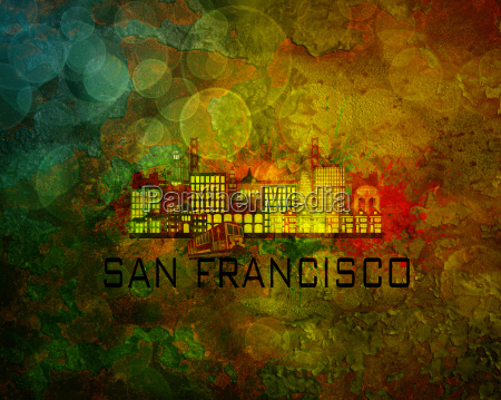 san francisco city skyline on grunge