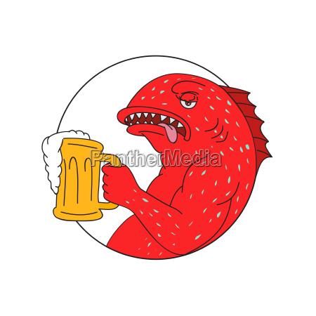 coral trout beer mug circle drawing