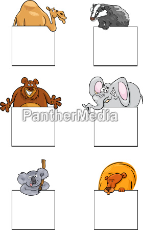 animals with cards or banners design