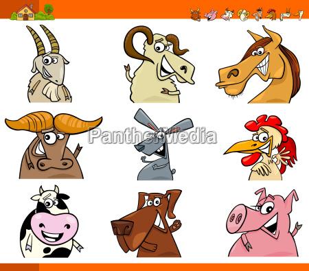 farm animal characters cartoon set
