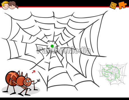 cartoon maze activity with spider and