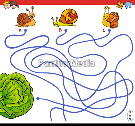 cartoon paths maze game with snails