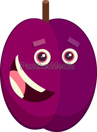 cartoon plum fruit character