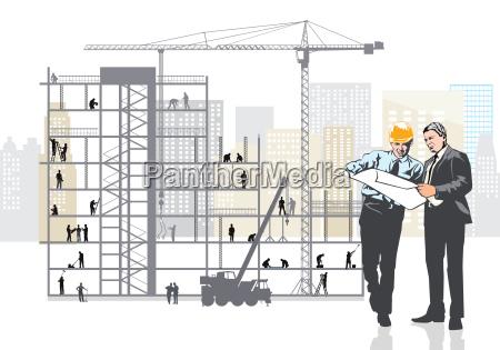architekt und bauherr planen auf der