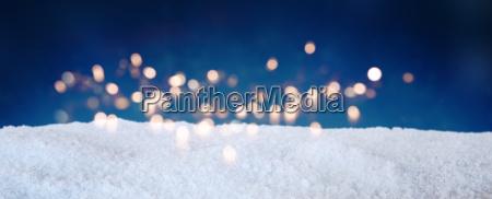 blue winter sky with snow