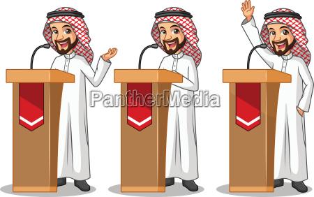 satz geschaeftsmann saudi arabischer mannkarikaturcharakter design