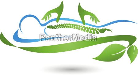 human massage naturopath spine hands logo