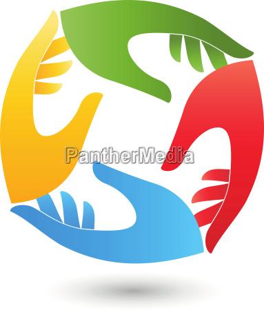 four hands helper team logo