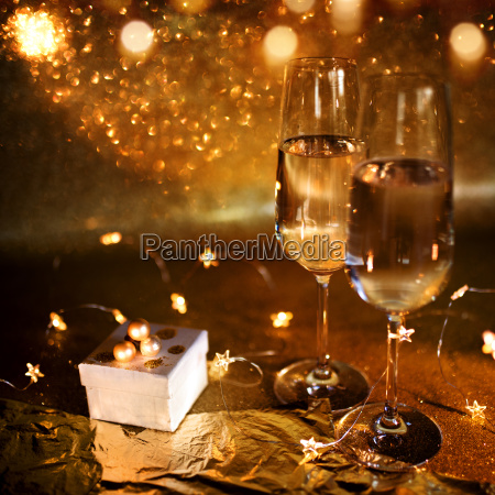 festive still life with champagne