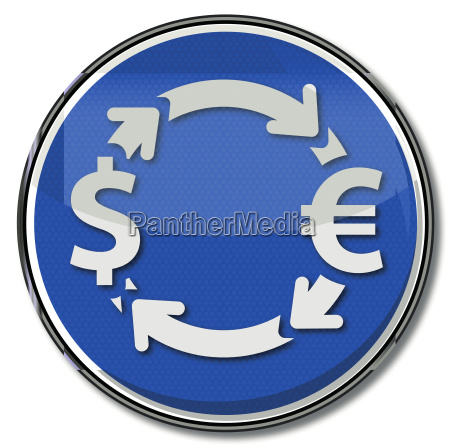 sign with currency exchange in euros