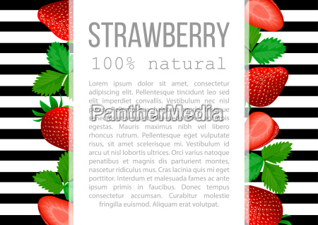 strawberry with leaves label set striped