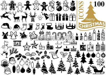 set of 100 christmas icons