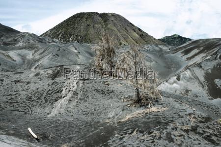arid landscape surrounding the active volcano
