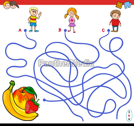 paths maze game with children and