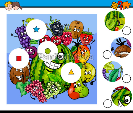 match pieces puzzle with fruits
