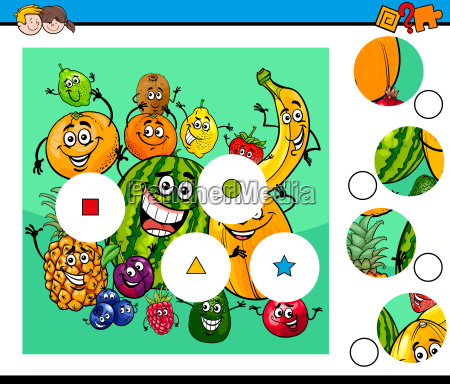 match pieces puzzle with fruit characters