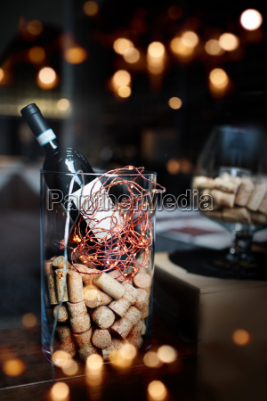 festive decoration with a bottle of