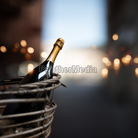 still life with bottle of champagne