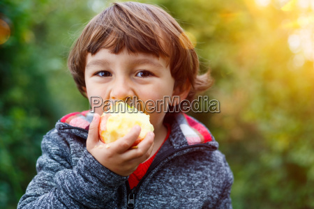 little young child apple fruit fruits
