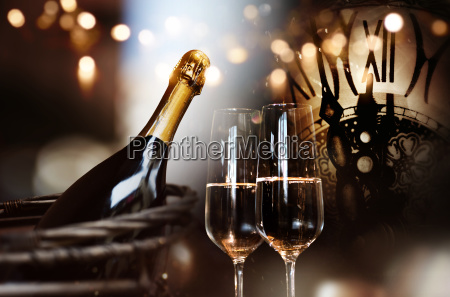 congratulations for new year with champagne
