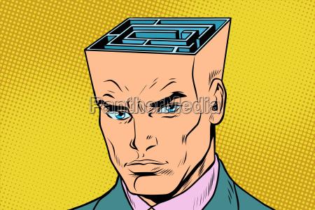 kopf labyrinth mann denkt