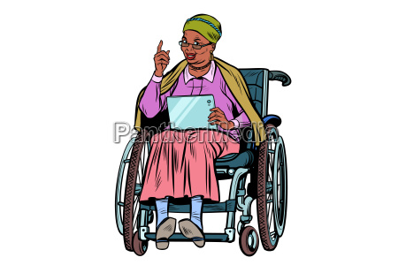 african elderly woman disabled person in
