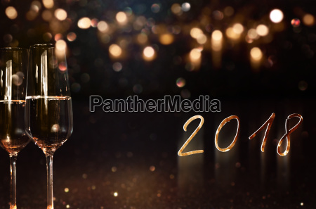 new year 2018 background with champagne