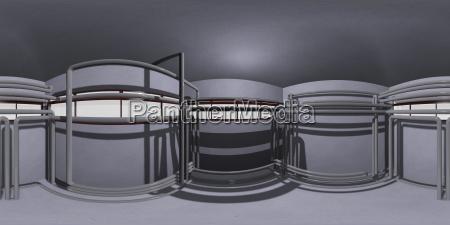 hdri raum mit pfeifen 3d illustration