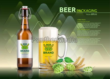 vektor realistische bierflasche und glas markenverpackungsvorlage