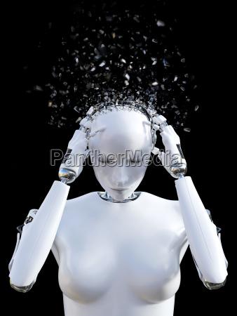 3d rendering von weiblichem roboterkopf der