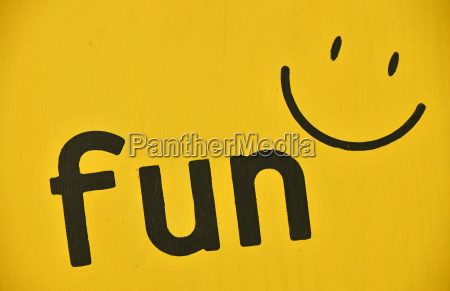 word fun and smile icon painted