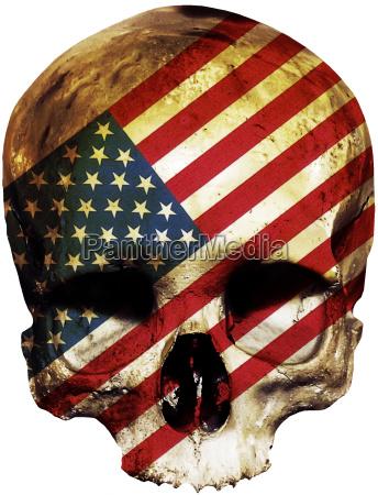 totenkopf mit amerikanischer flagge