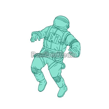 astronaut schwebt im weltraum zeichnung