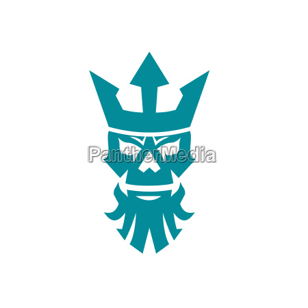 poseidon skull wearing crown icon