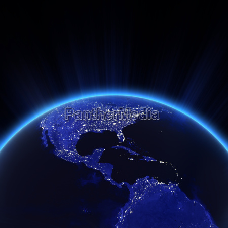 central america and usa city lights