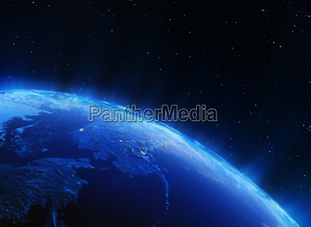 earth north city lights 3d rendering