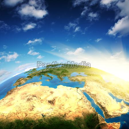 europa und nordafrika 3d rendering