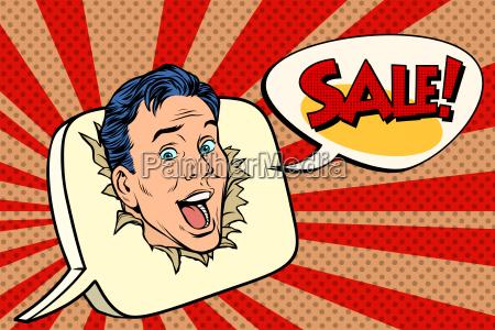 pop art sale background male promoter