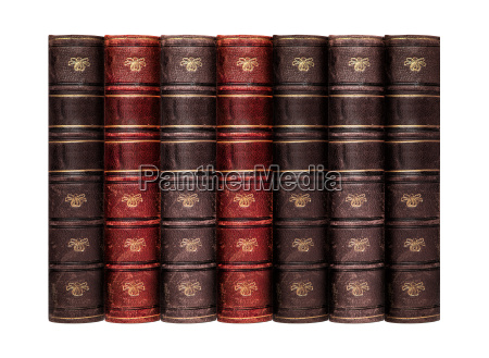 old books with leather skin