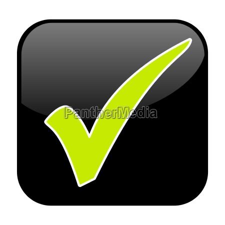gruenes haekchen auf schwarzem button