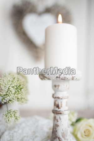 decoration with candle for valentines day