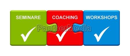 3 puzzle buttons show seminars coaching