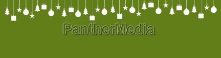 breiter banner gruen mit weihnachtsdeko
