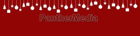 breiter banner rot mit weihnachtsdeko