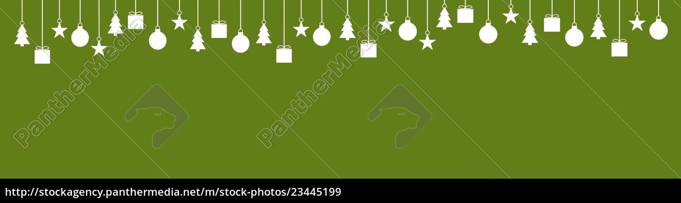 Weihnachtsdeko In Grün.Lizenzfreies Bild 23445199 Breiter Banner Grün Mit Weihnachtsdeko