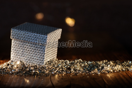 silver gift box festively presented