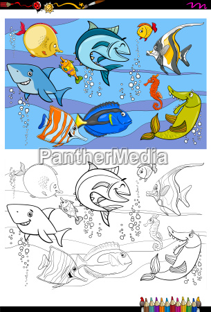 fisch zeichen gruppe farbbuch